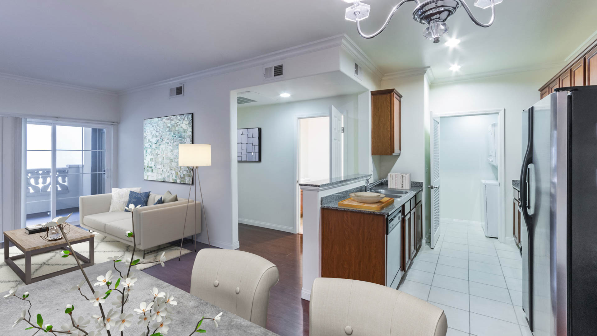 Versailles Koreatown Apartments - Dining and Living Area