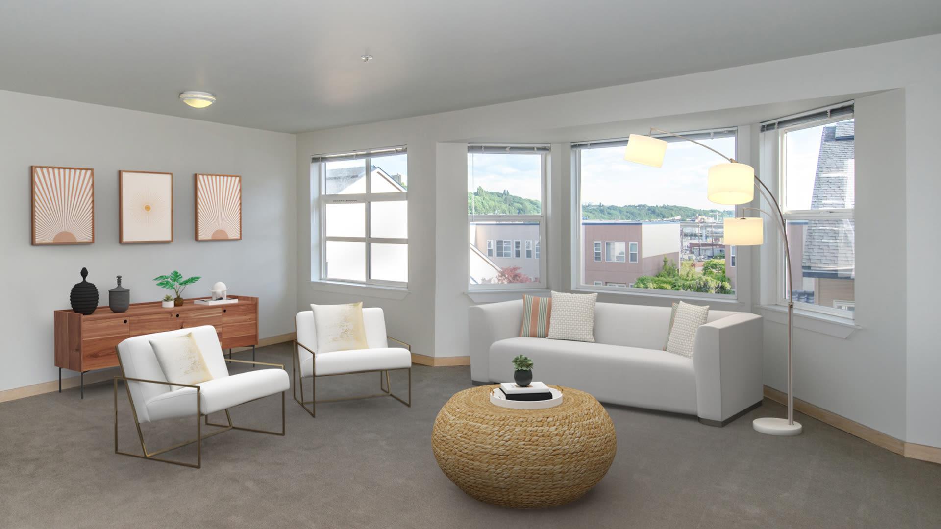 Uwajimaya Village Apartments - Living Room with Bay Windows