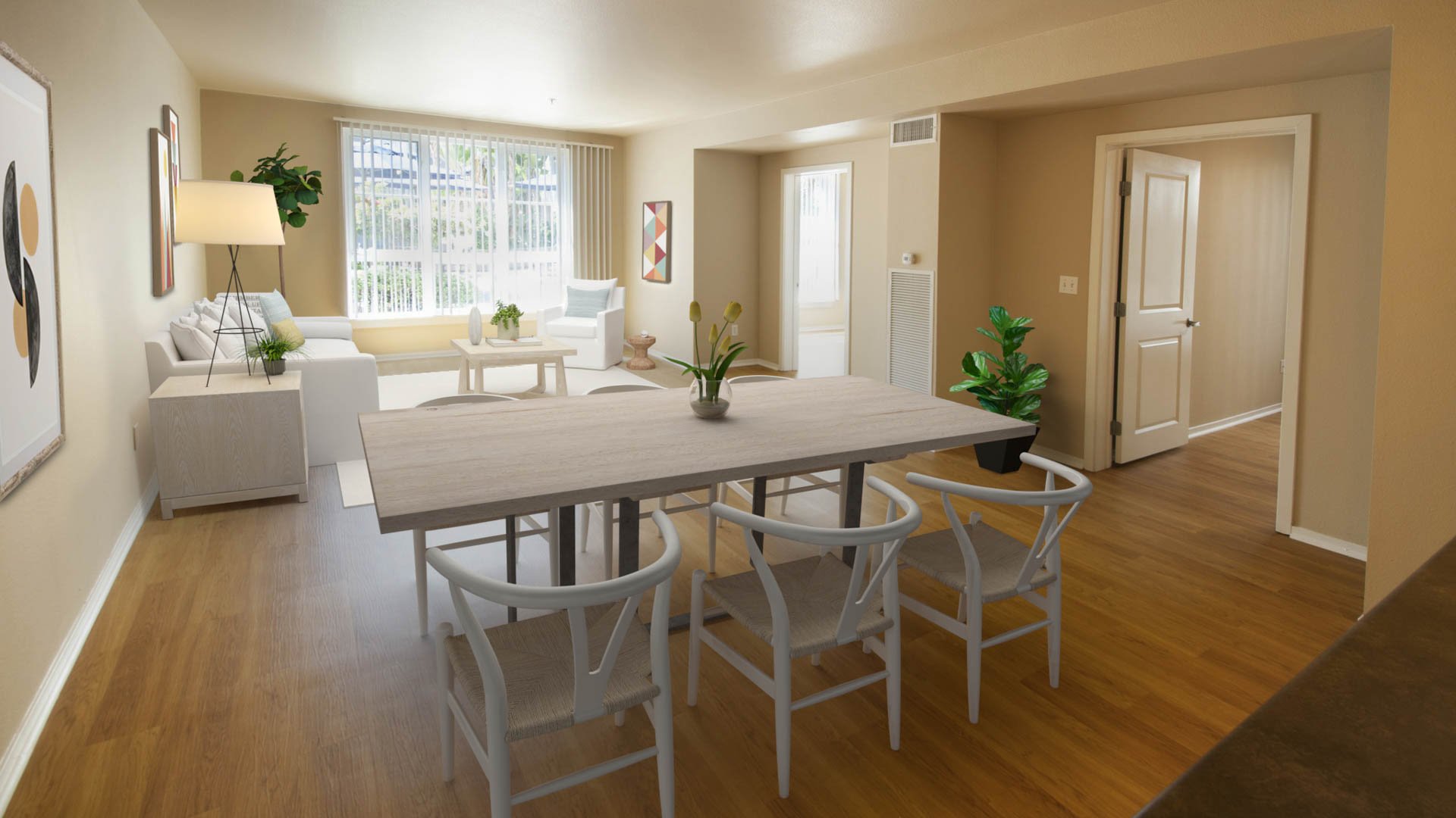 Market Street Village Apartments - Living and Dining Area