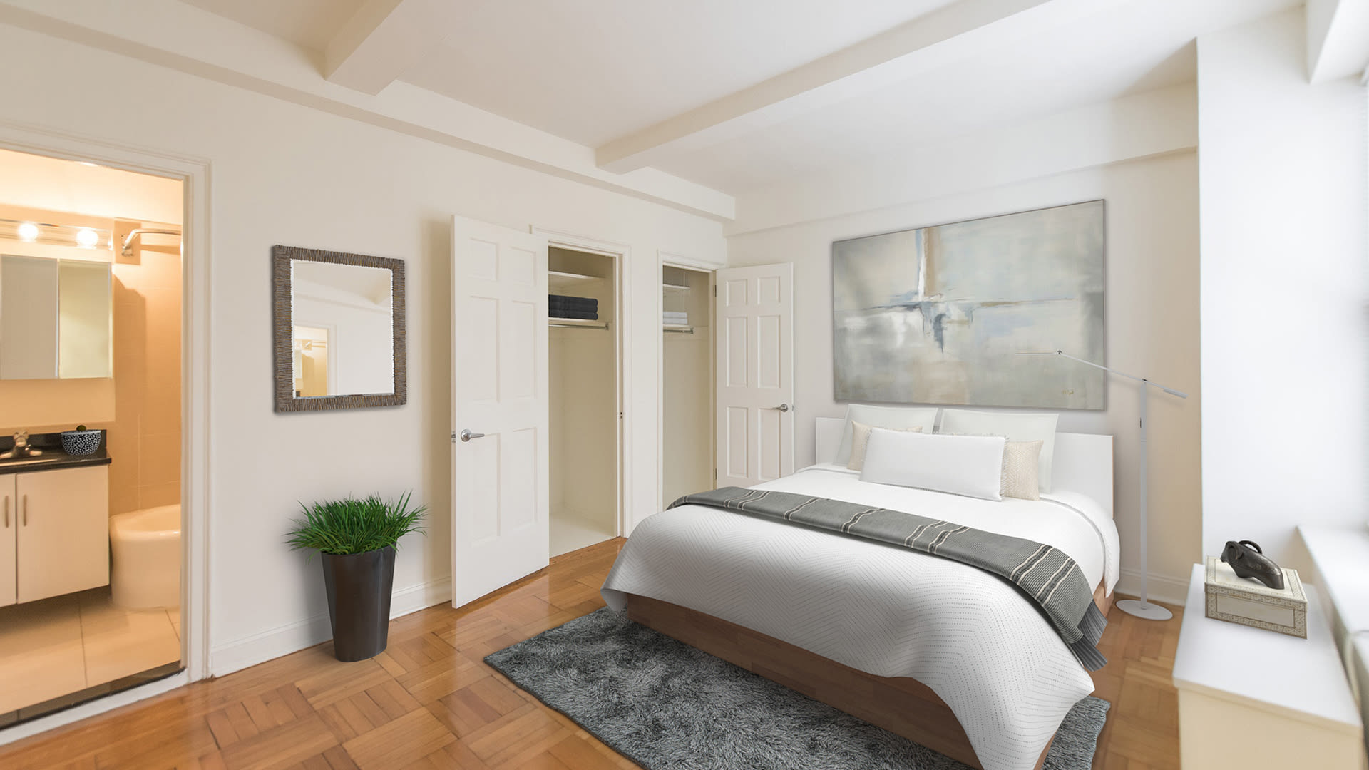 Parc Cameron Apartments - Bedroom with Parquet Flooring