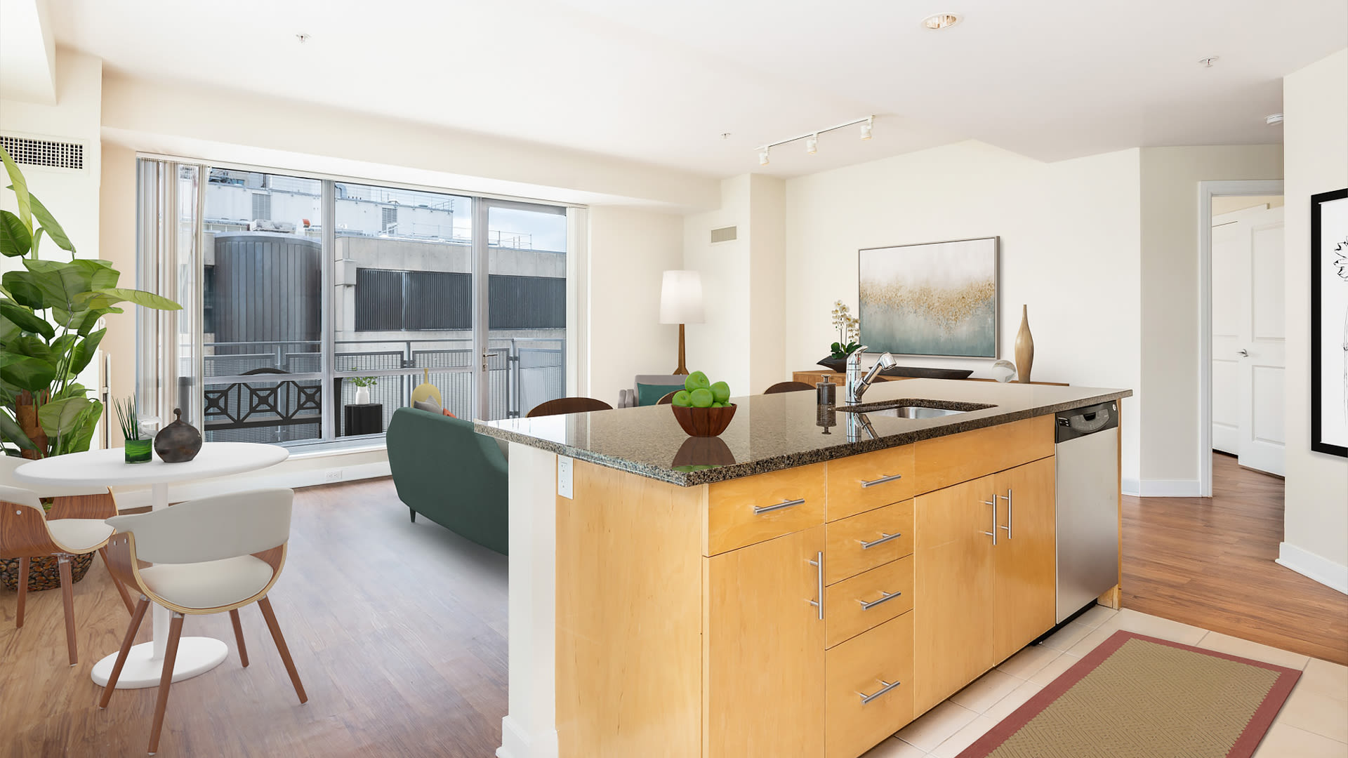 The West End Apartments - Vesta Kitchen and Living Room with Floor-to-Ceiling Windows