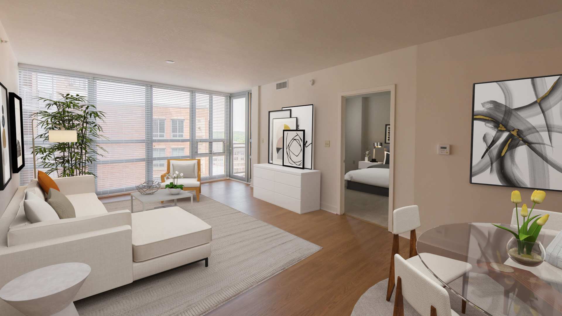 The Veridian Apartments - Living Room with Oversized Private Balcony and Real Oak Flooring