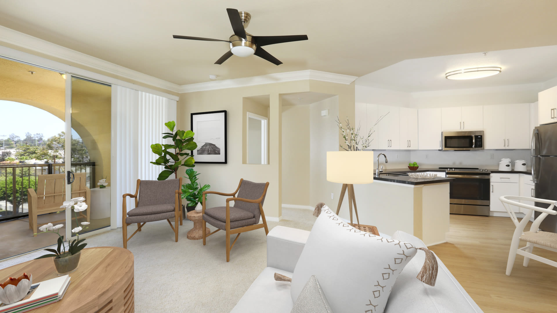 City Pointe Apartments - Kitchen and Living Room with Balcony