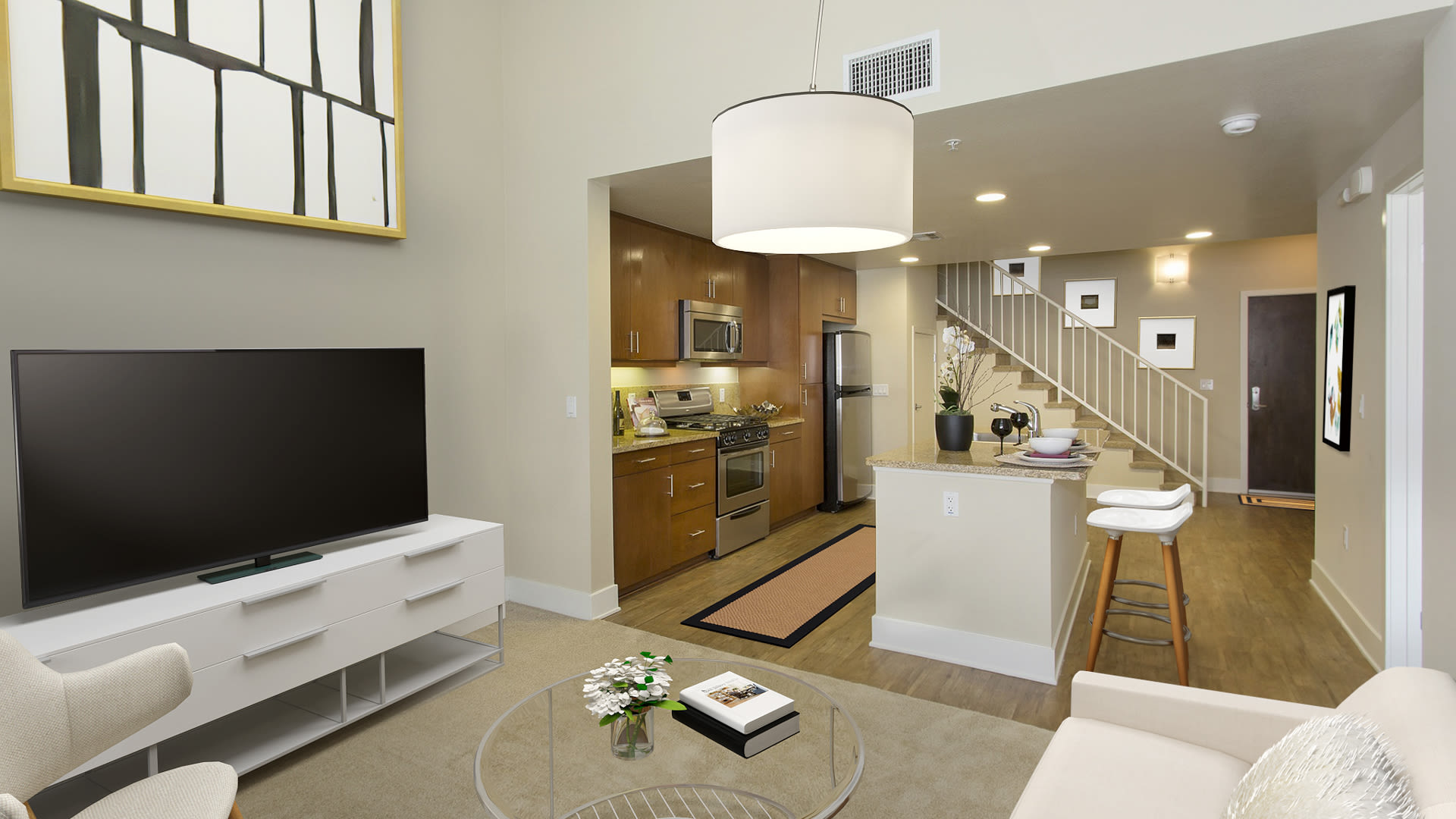 Westgate Apartments - Living Room and Kitchen