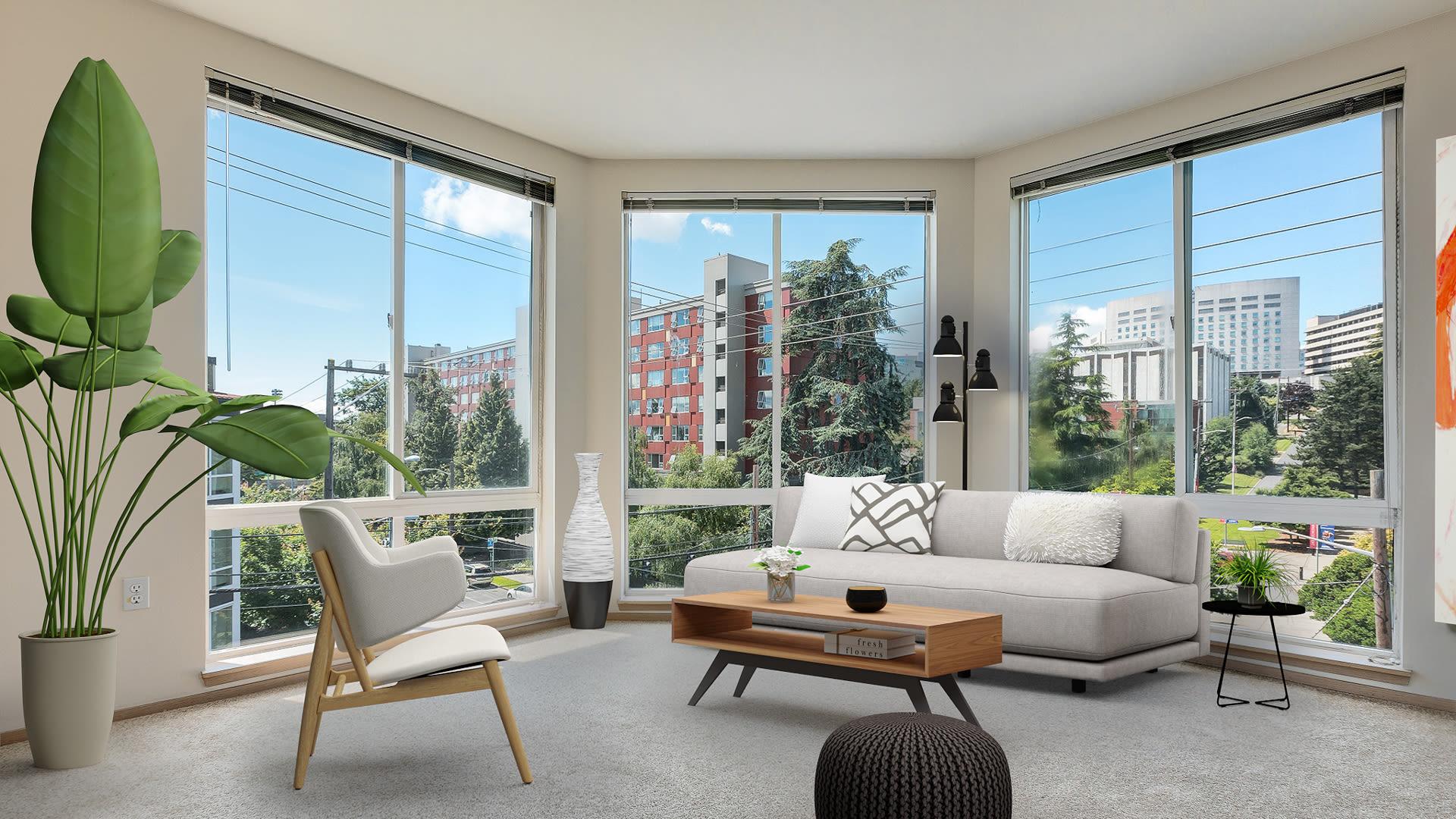 Rianna Apartments - Living Room with Floor-to-Ceiling Windows