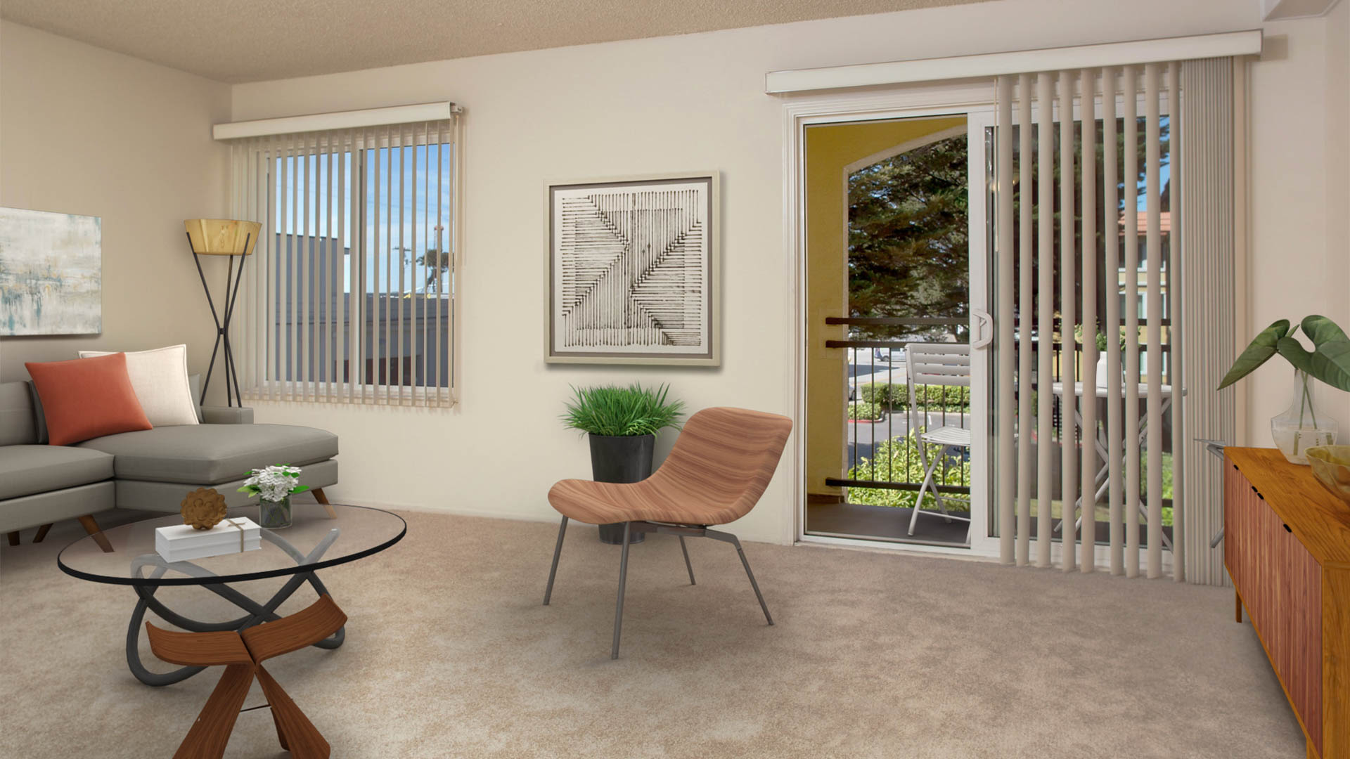Northpark Apartments - Living Area with Balcony