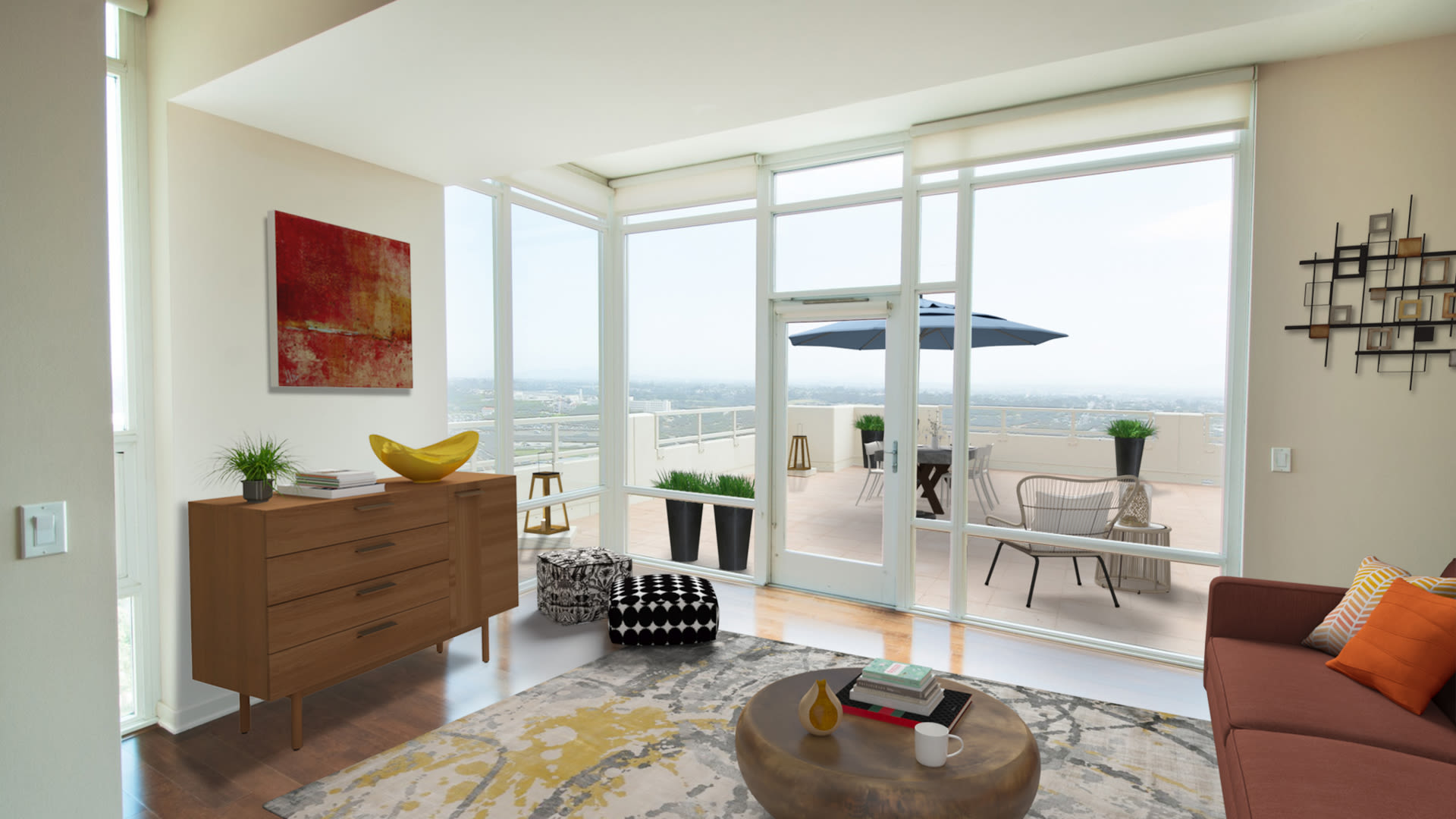 Vantage Pointe Apartment - Living Room with Hard Surface Flooring and Outdoor Space