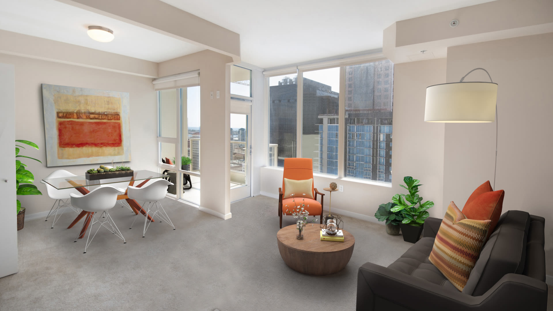 Vantage Pointe Apartment - Living Room with Balcony