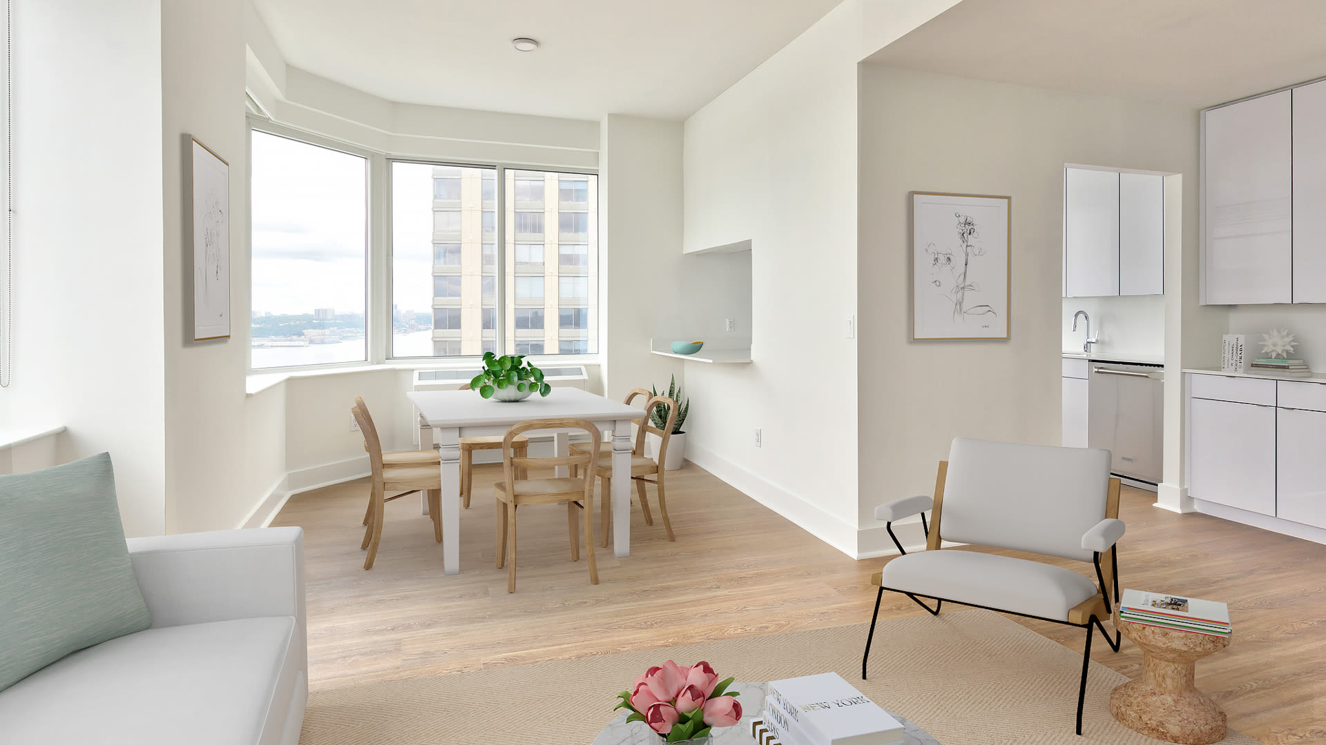 180 Riverside Boulevard Apartments - Living Room with Wrap-Around Windows