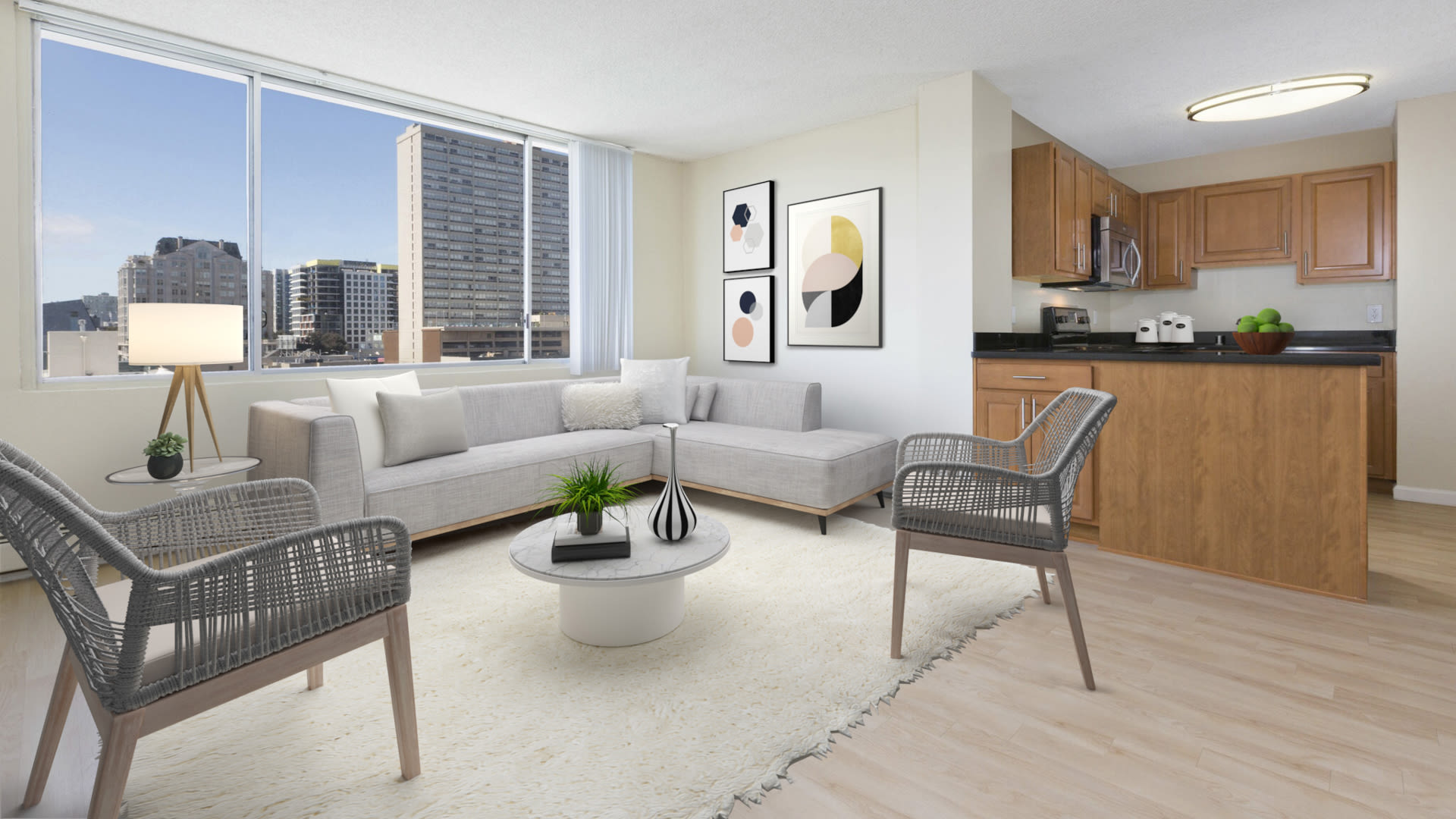 The Terraces Apartments - Living Room with Oak Flooring