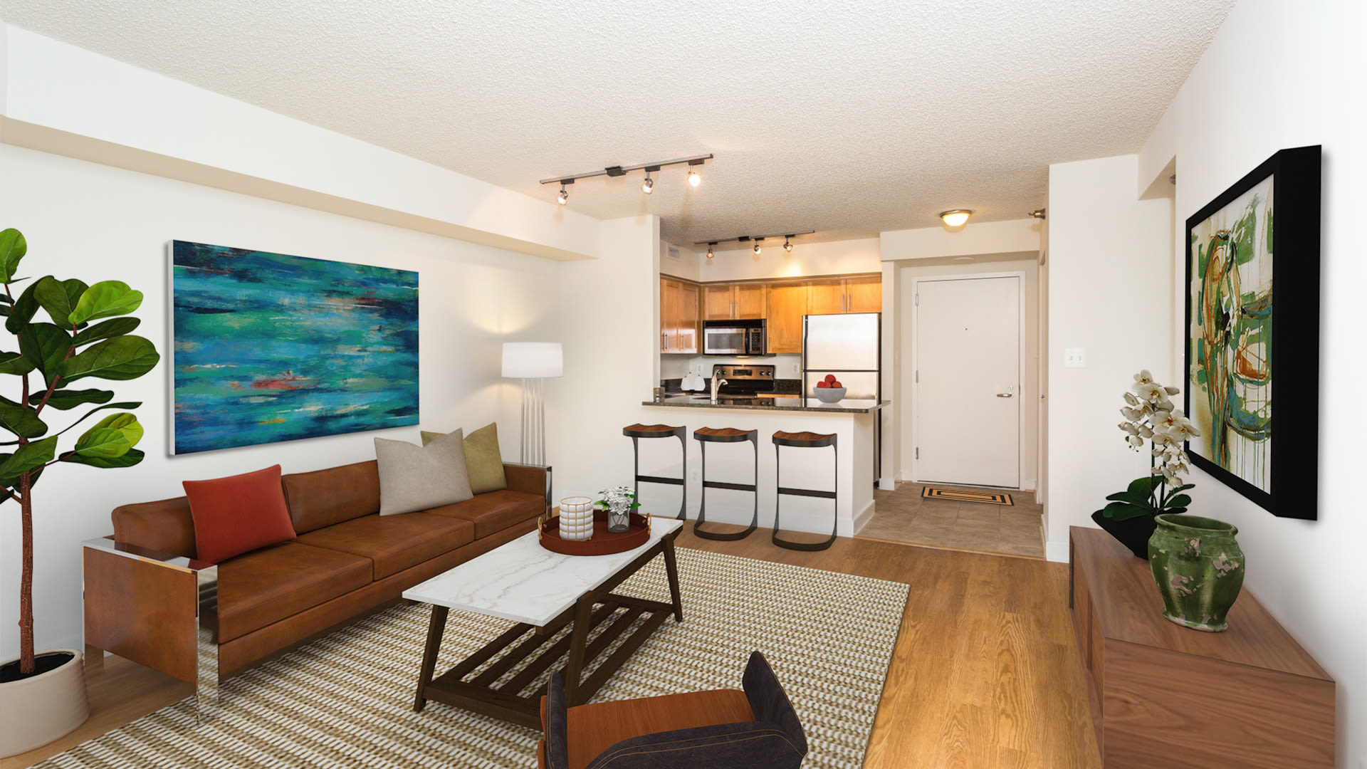 Edgemont at Bethesda Metro Apartments - Kitchen and Living Room