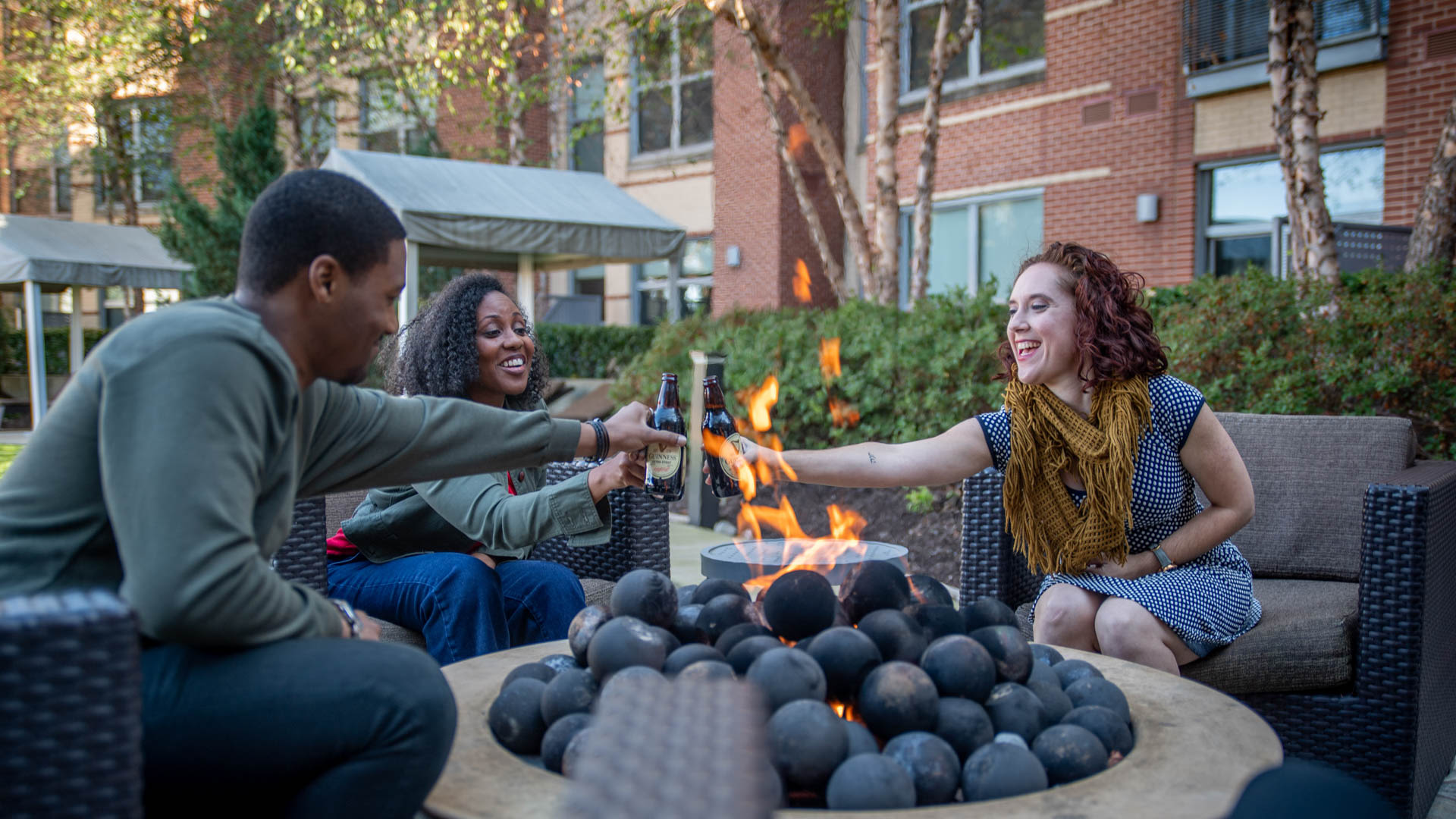 2201 Pershing Apartments - Outdoor Lounge with Fire Pit