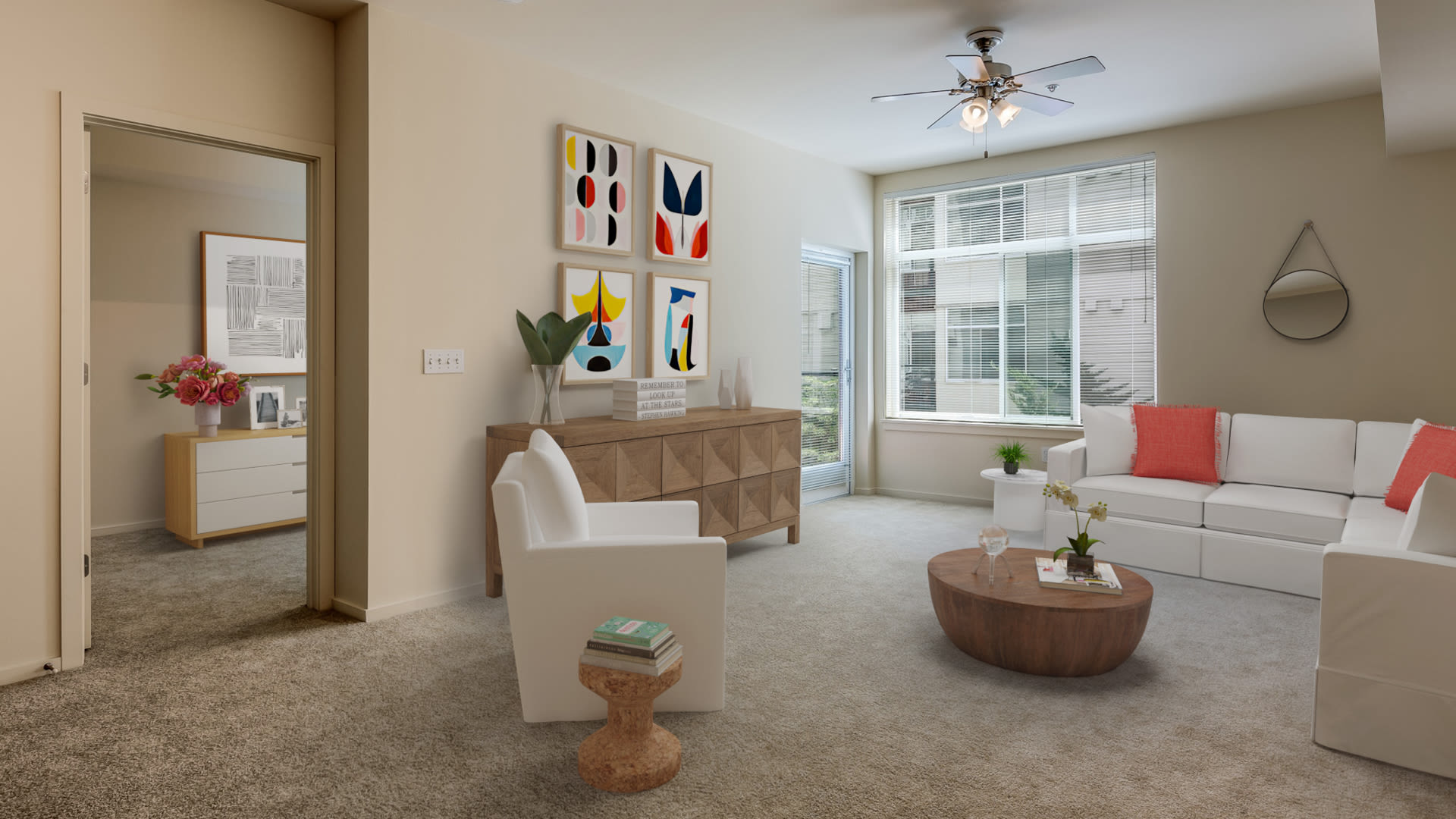 Veloce Apartments - Living Room with Private Balcony