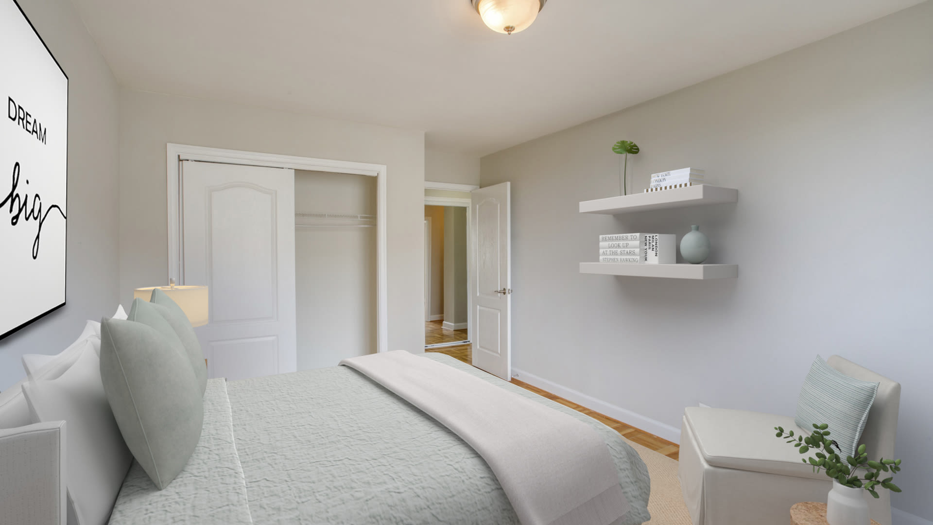 Calvert Woodley Apartments - Bedroom with Parquet Flooring