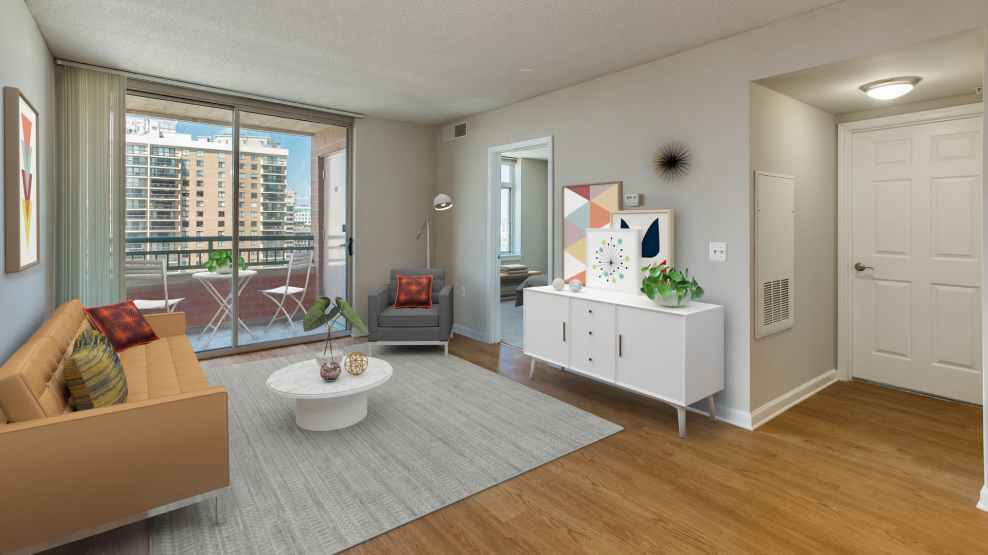 Virginia Square Apartments - Living Room with Hard Surface Flooring and Balcony