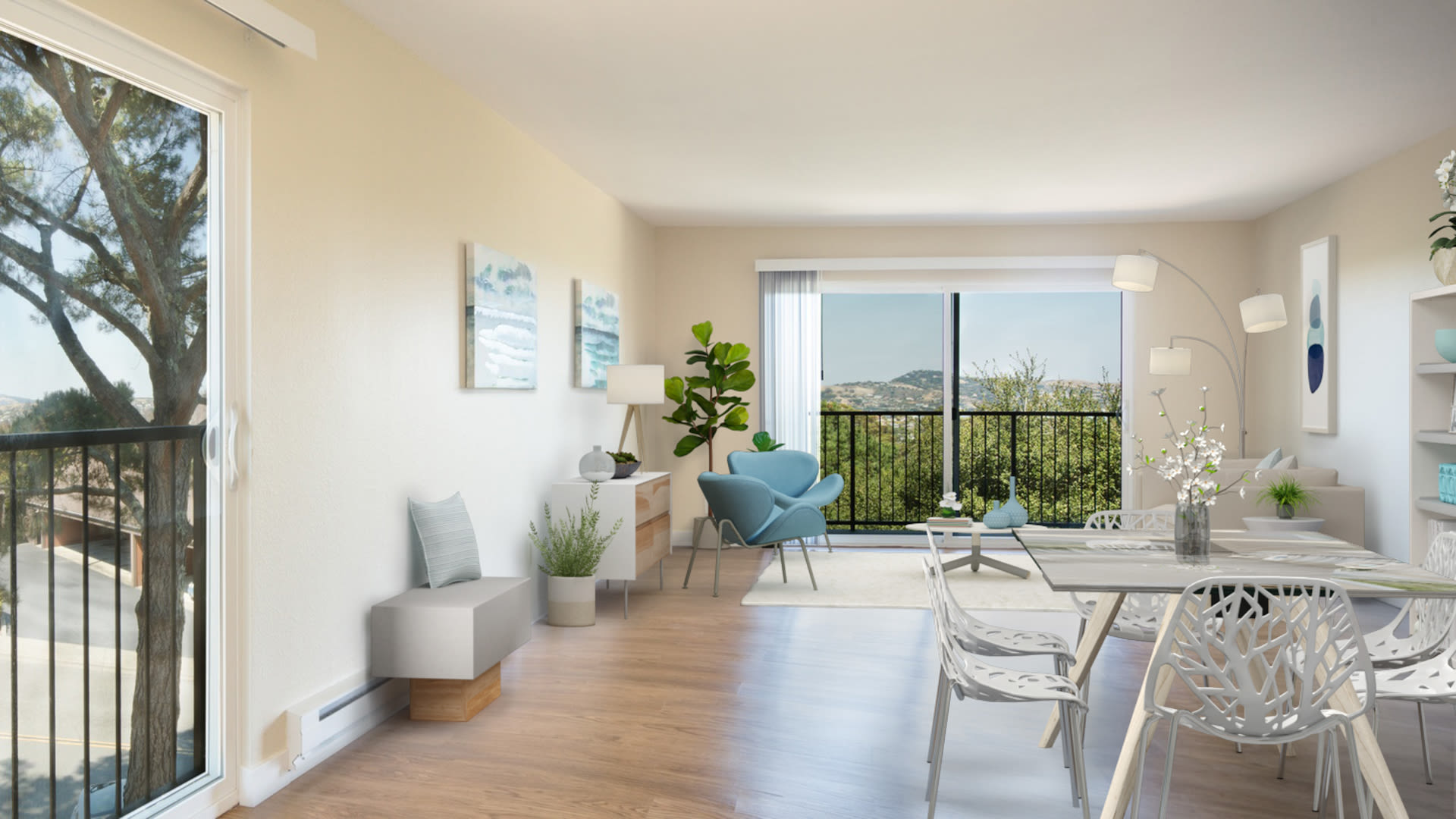 Summit at Sausalito Apartments - Living Room with Balcony