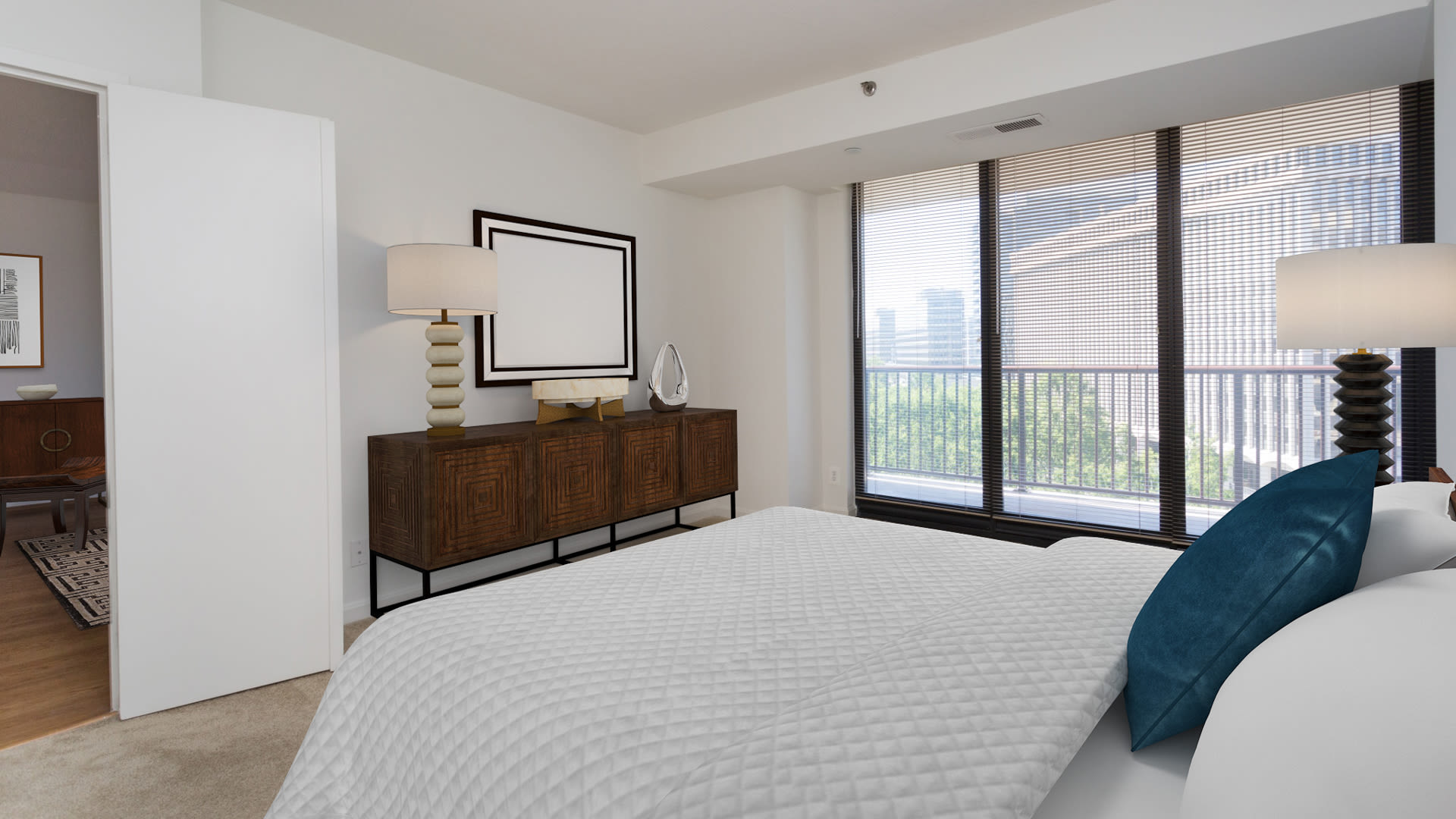 Crystal Place Apartments - Carpeted Bedroom with Balcony