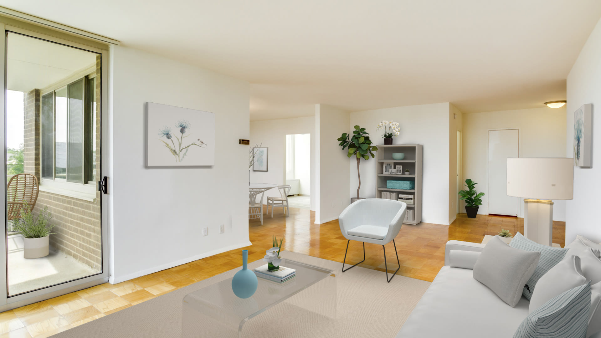 3003 Van Ness Apartments - Living and Dining Room with Parquet Flooring and Private Balcony