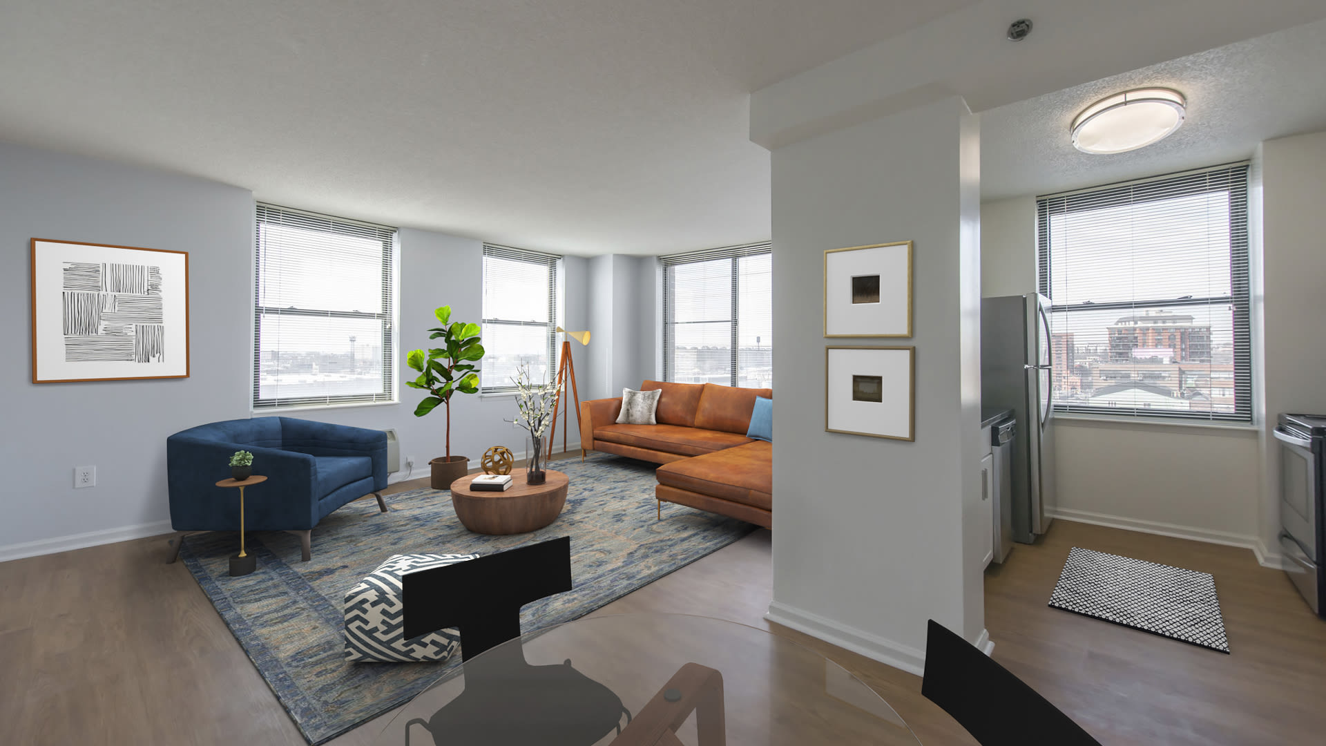 77 Park Avenue Apartments - Pass-through Kitchen and Living Room with Hard Surface Flooring