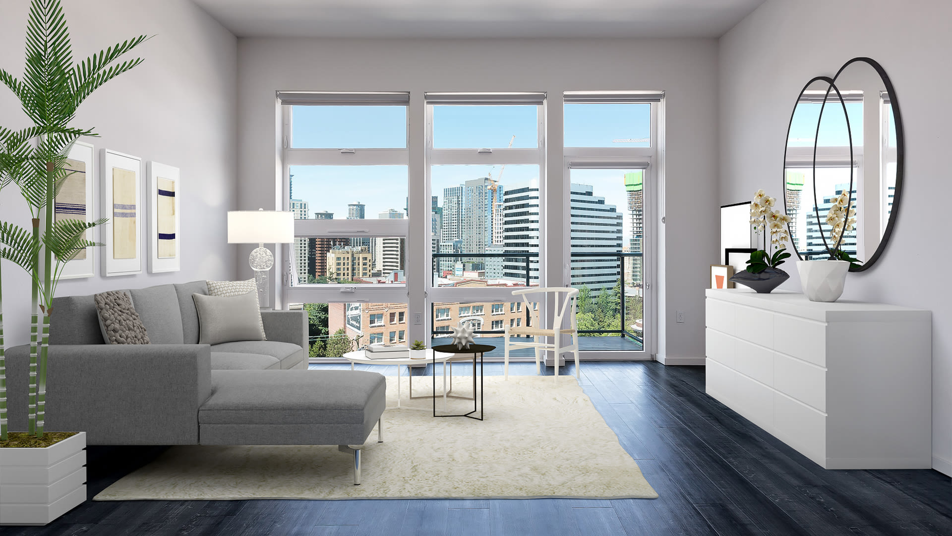 Three20 Apartments - Living Room with Floor-to-Ceiling Windows and Hard Surface Flooring
