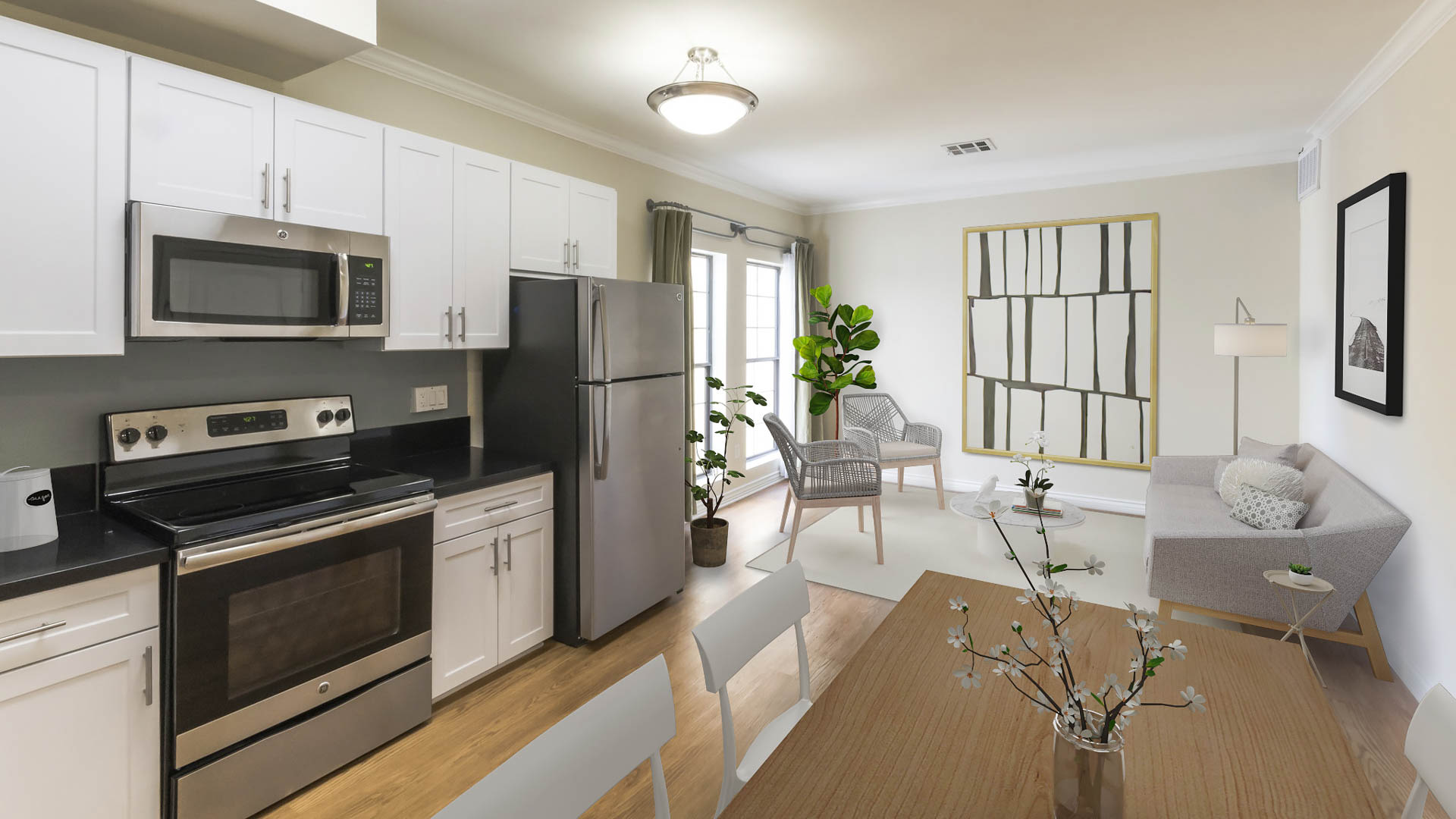 425 Broadway Apartments - Kitchen and Living Area