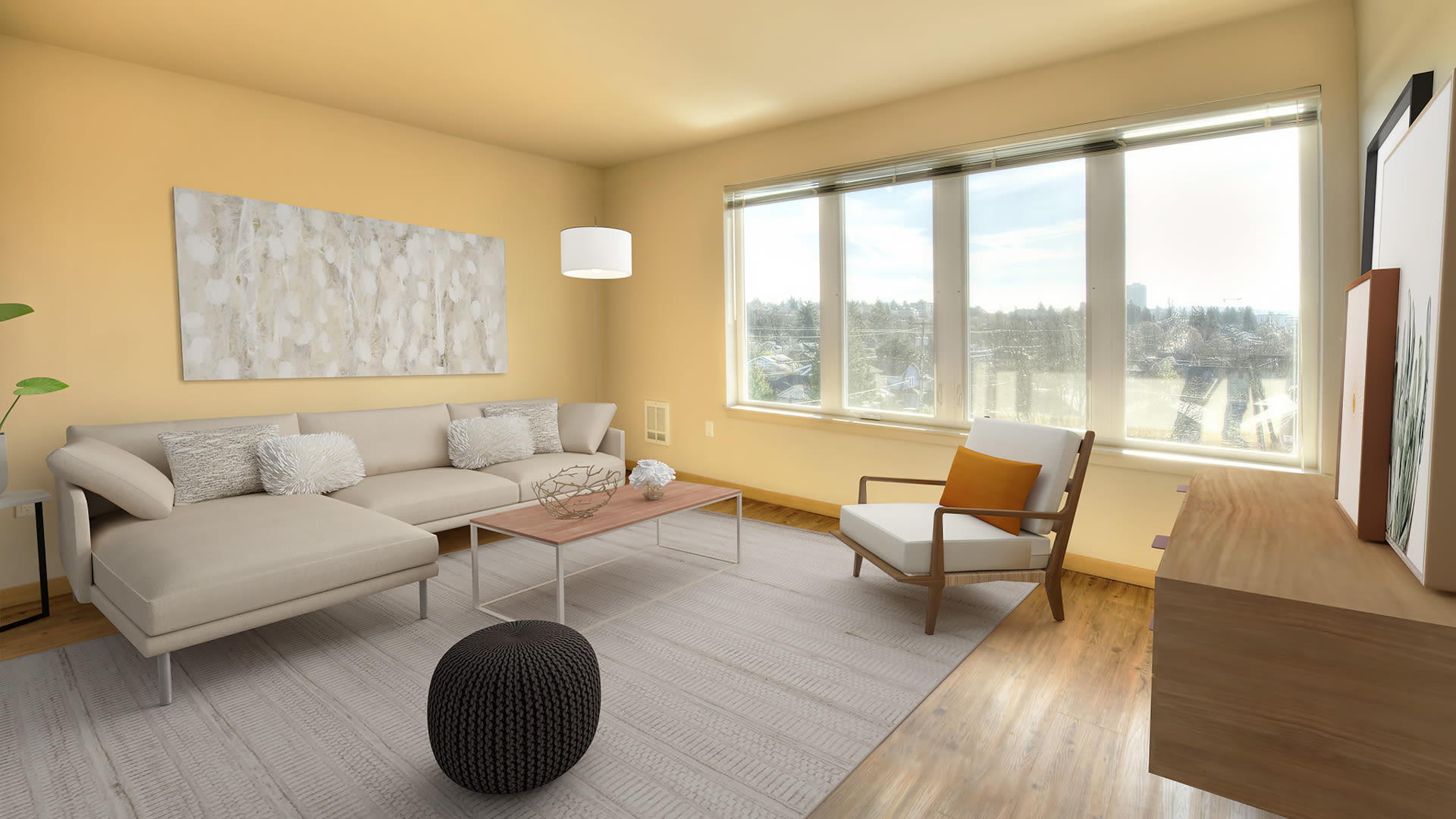 Square One Apartments - Living Room with Hard Surface Flooring
