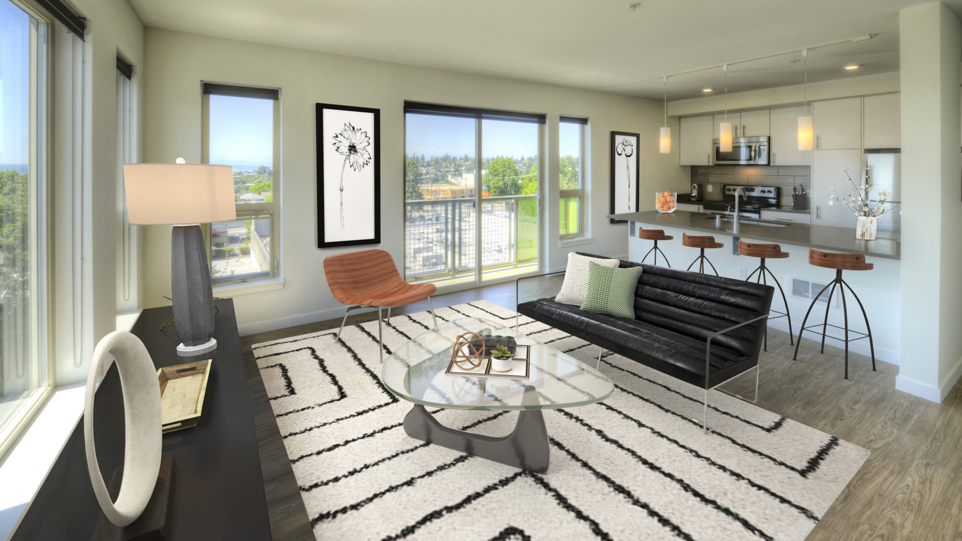 Junction 47 Apartments - Living Room with Balcony