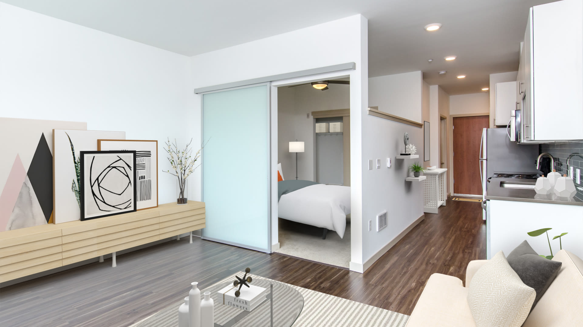 Odin Apartments - Living Room with Hardwood Floors