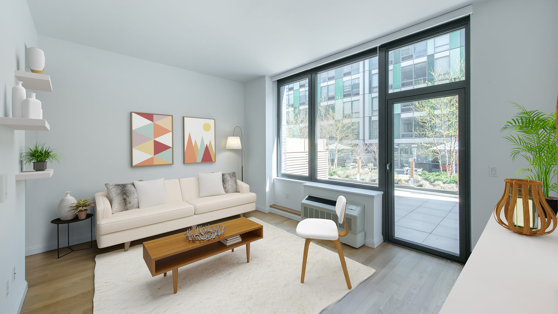 Atelier Apartments - Living Room with Hardwood Floors and Balcony