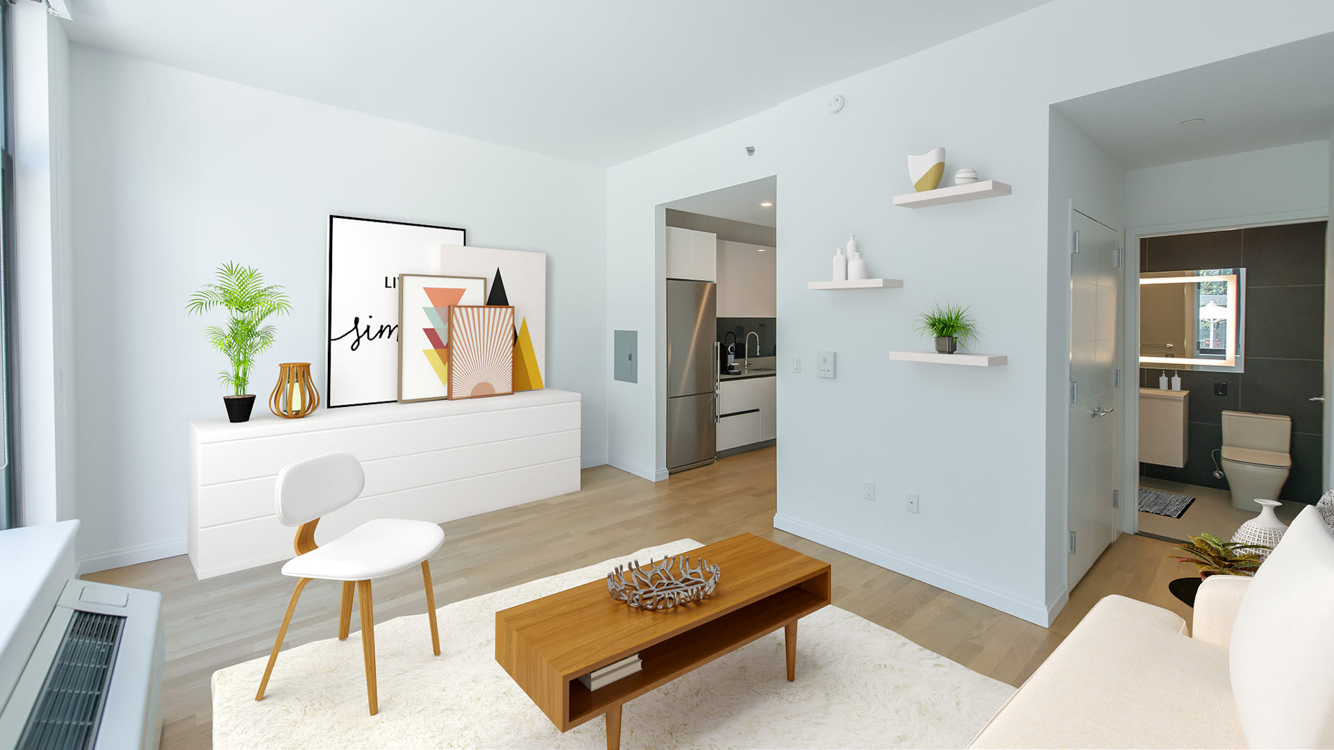 Atelier Apartments - Living Room with Hardwood Floors