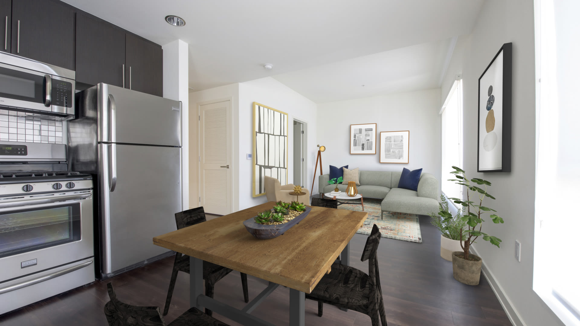 C on Pico Apartments - Kitchen and Living Room