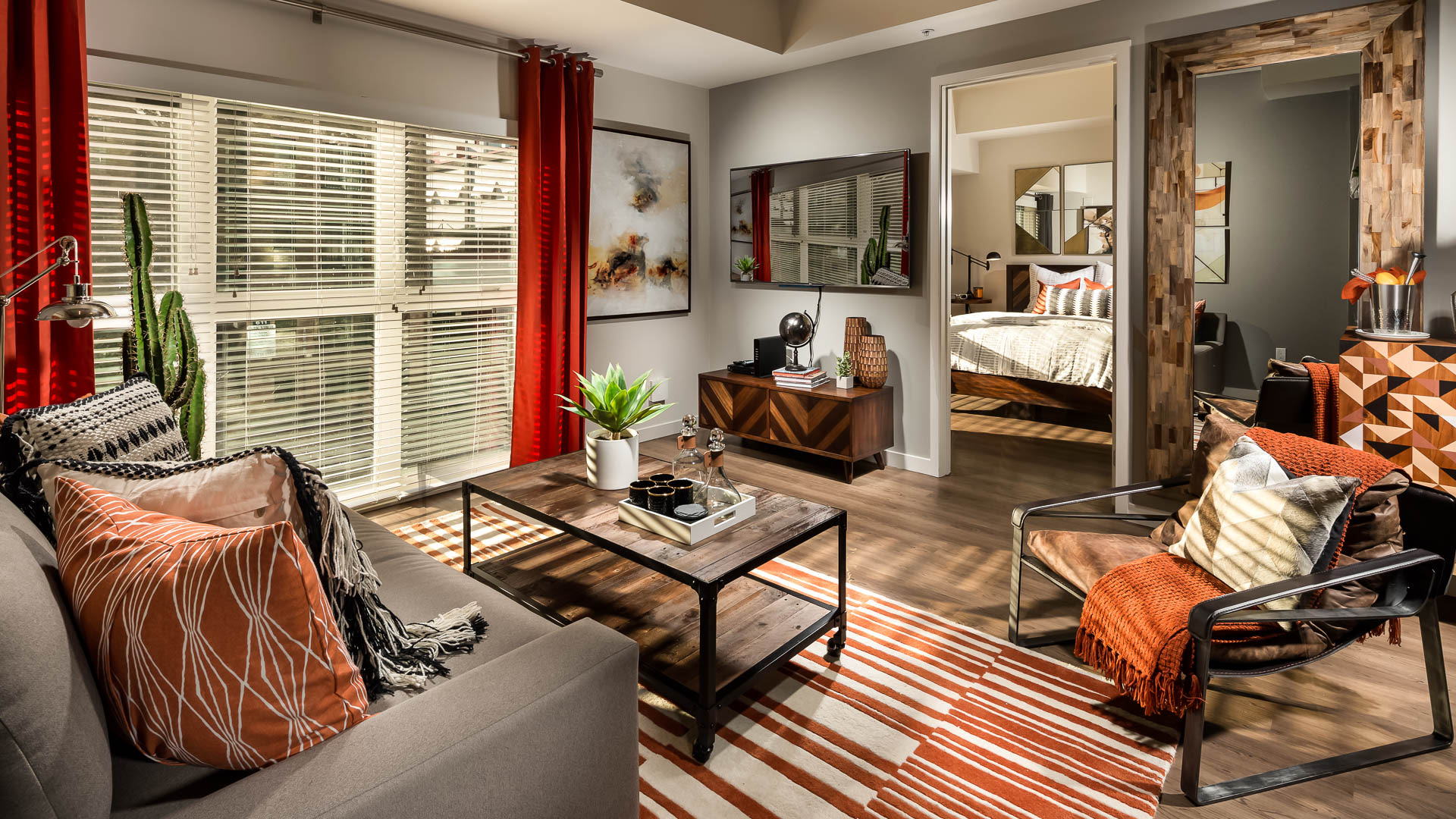 Next on Sixth Apartments - Living Area