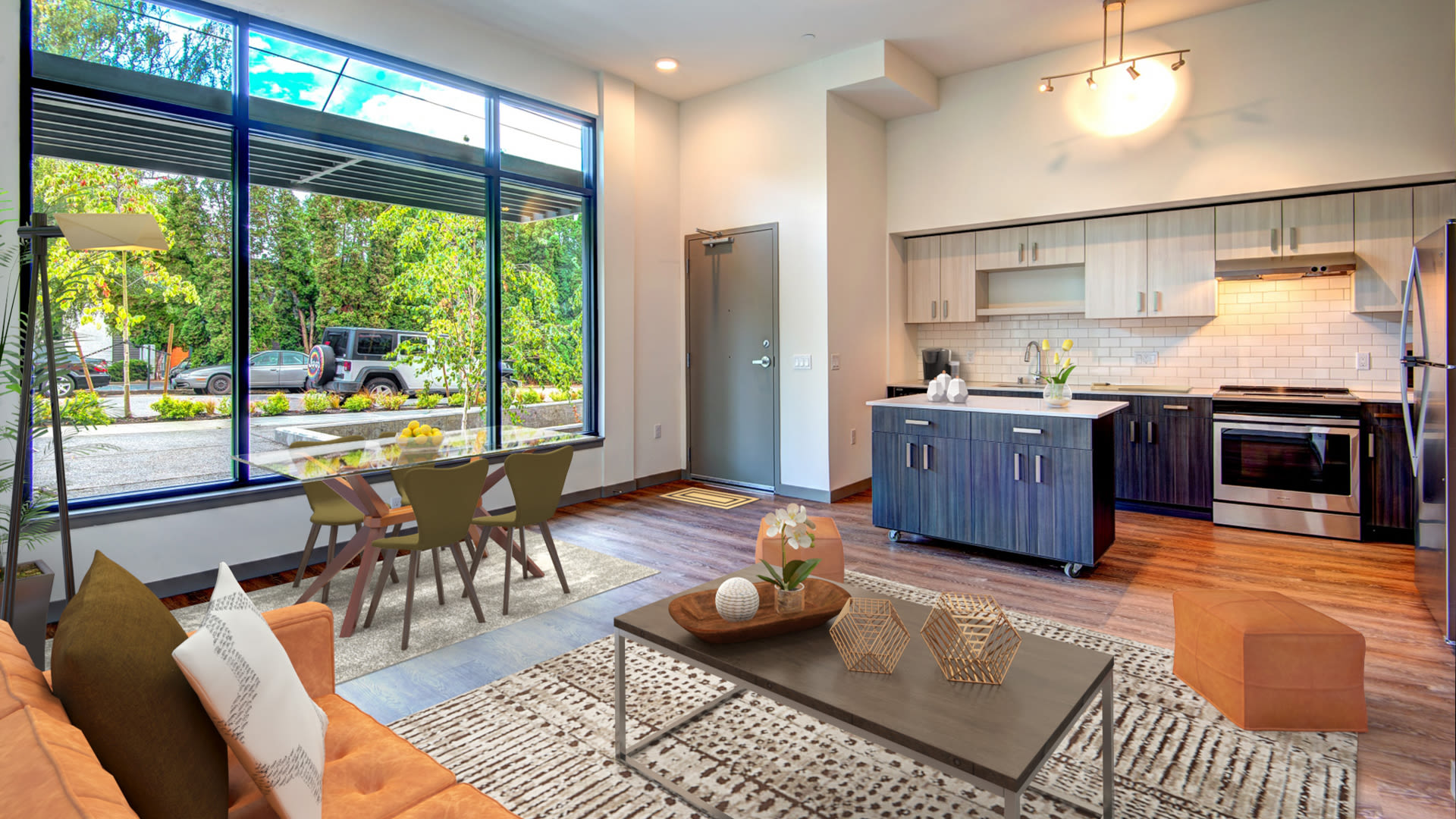 Lane Apartments - Kitchen and Living Room with Hard Surface Flooring