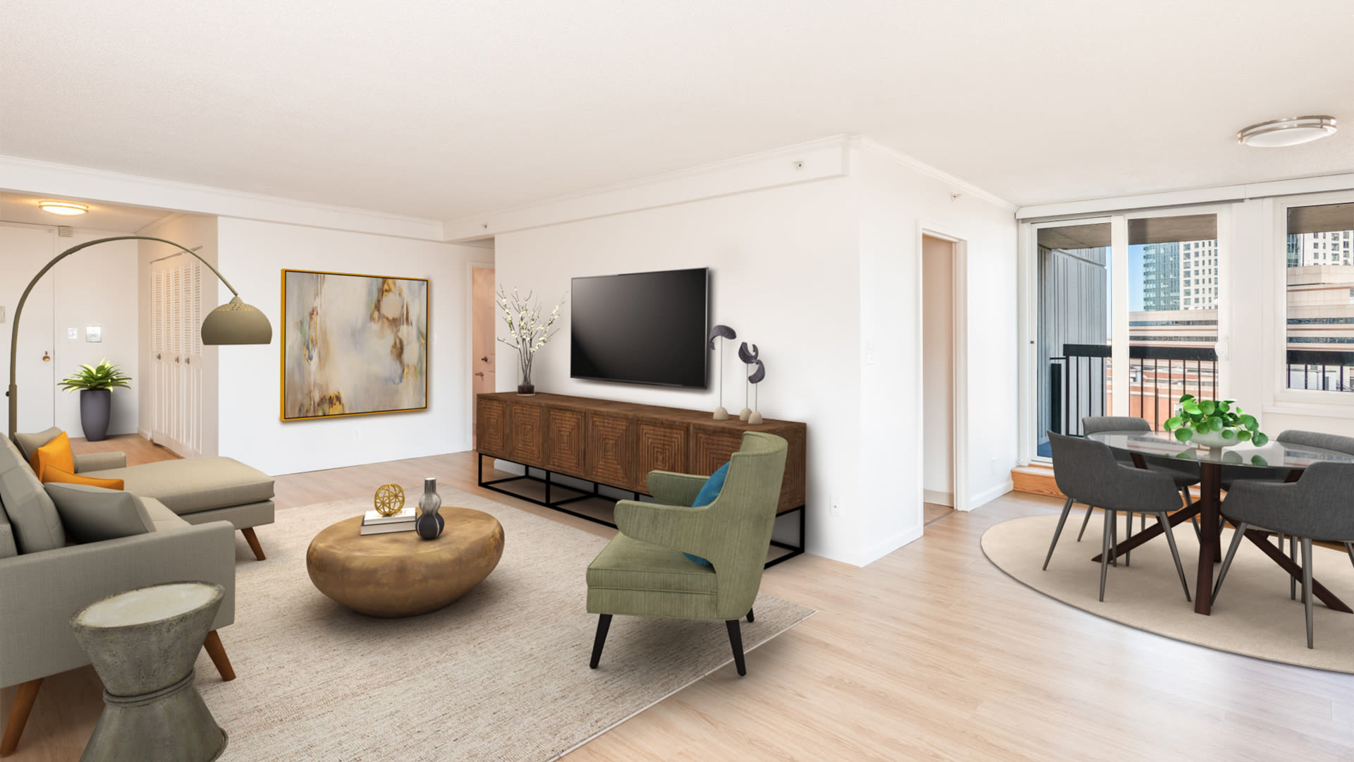 The Towers at Longfellow Apartments - Living Room with Balcony and Hard Surface Flooring