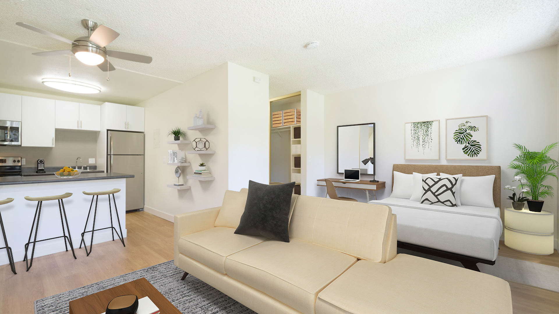 Parkside Apartments - Studio Living and Sleeping Area