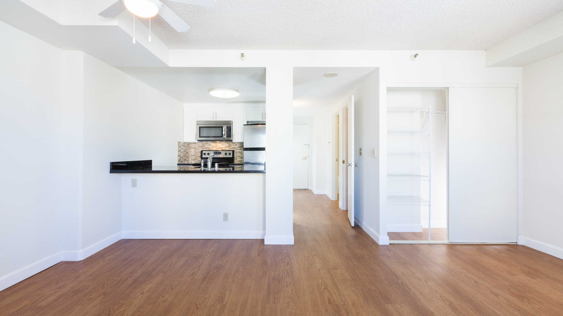 Kitchen and Dining Room with Hard Surface Flooring