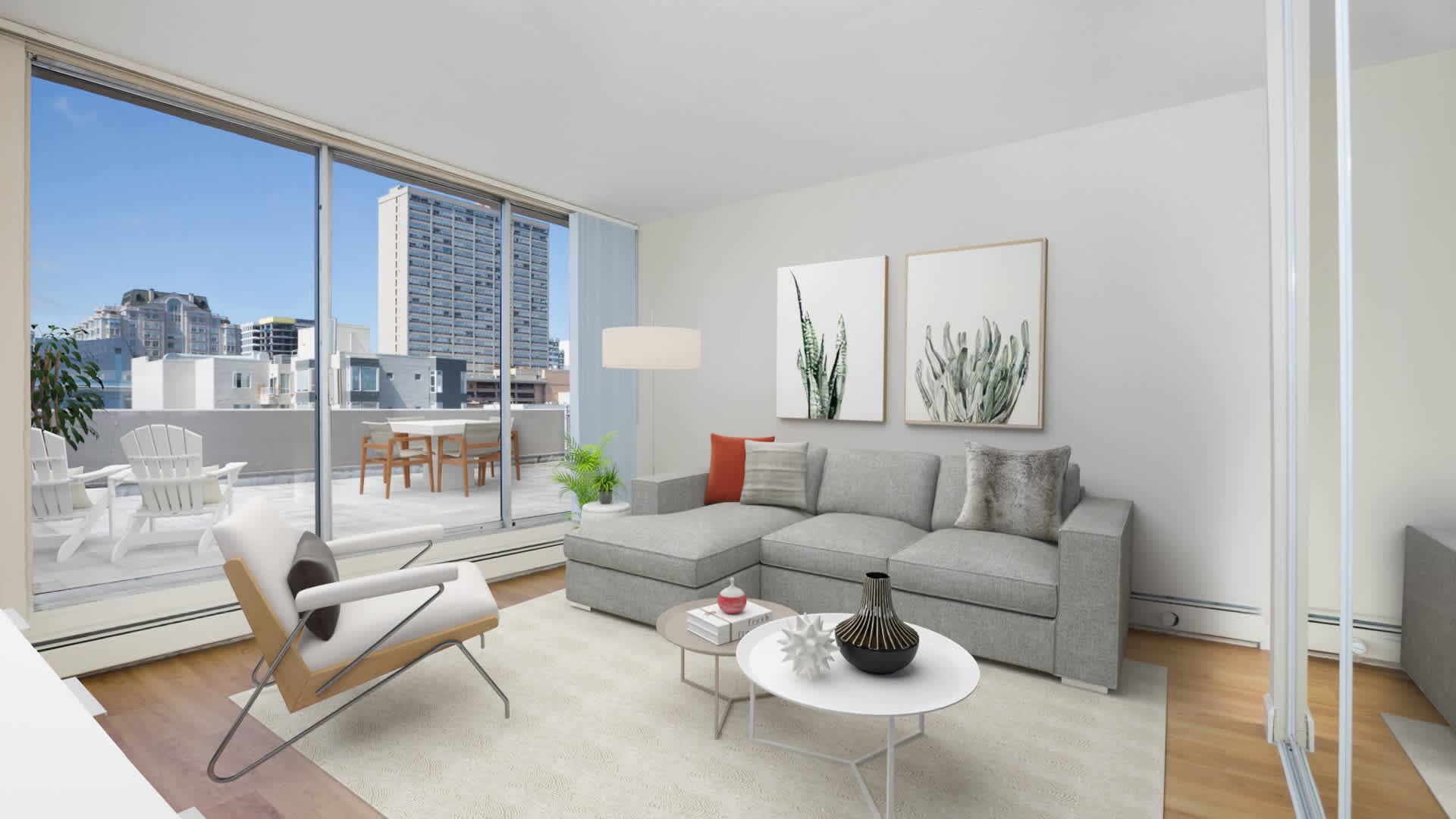 The terraces apartments living room with oak flooring