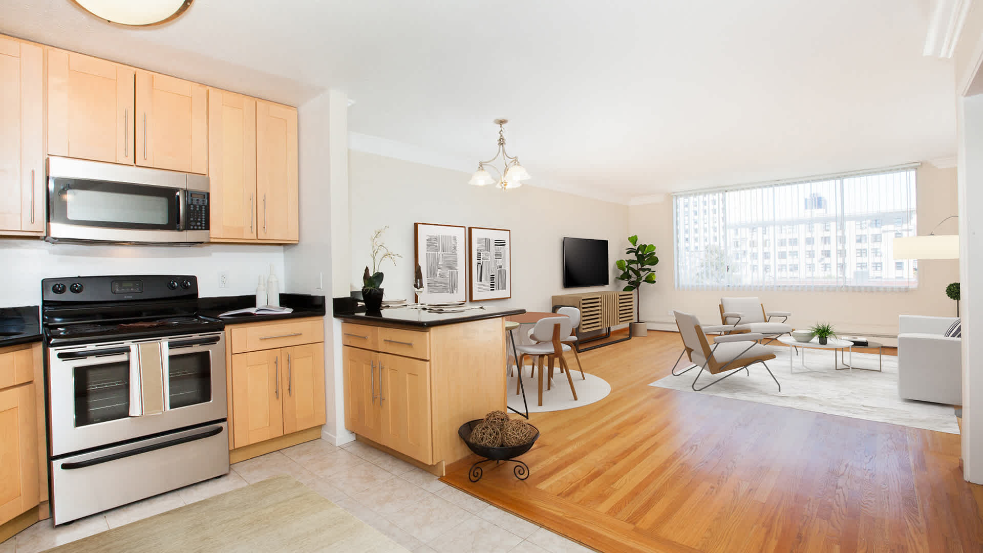 The terraces apartments living and dining room with hardwood flooring