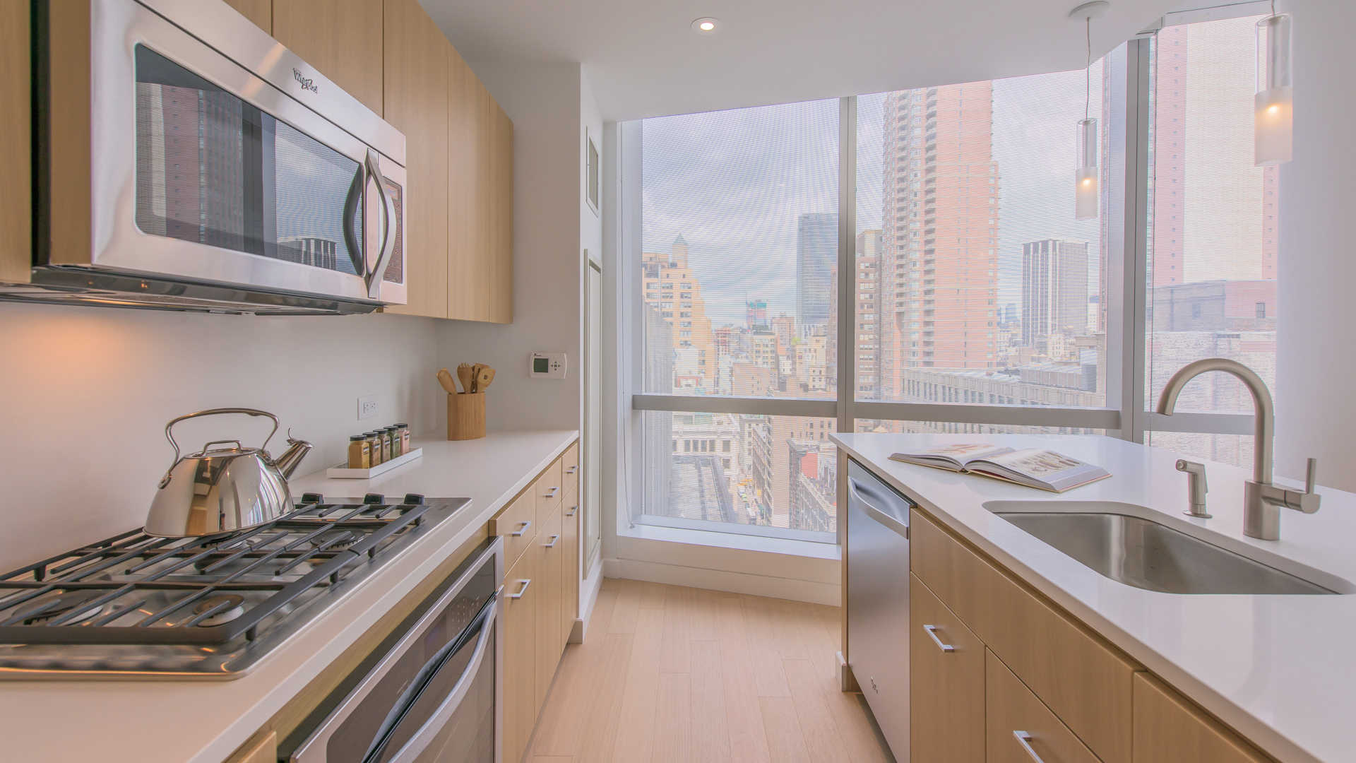 Kitchen with Floor-to-Ceiling Windows