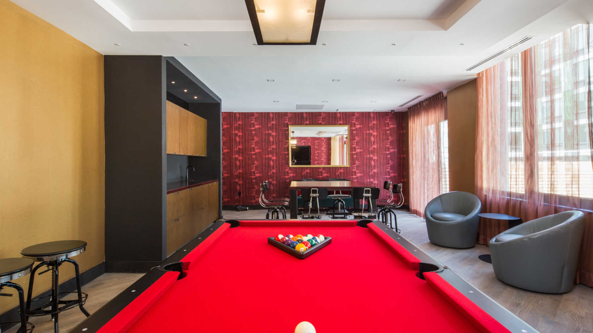Atelier apartments lounge with pool table